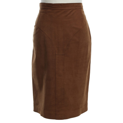 Yves Saint Laurent Leather skirt in brown