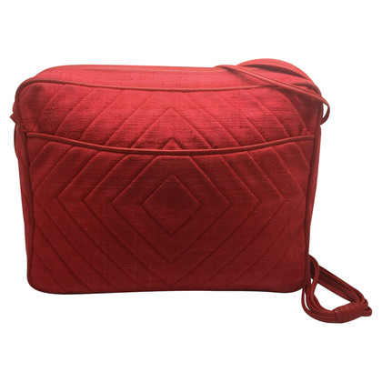 Chanel Rote Umhängetasche aus Leinen