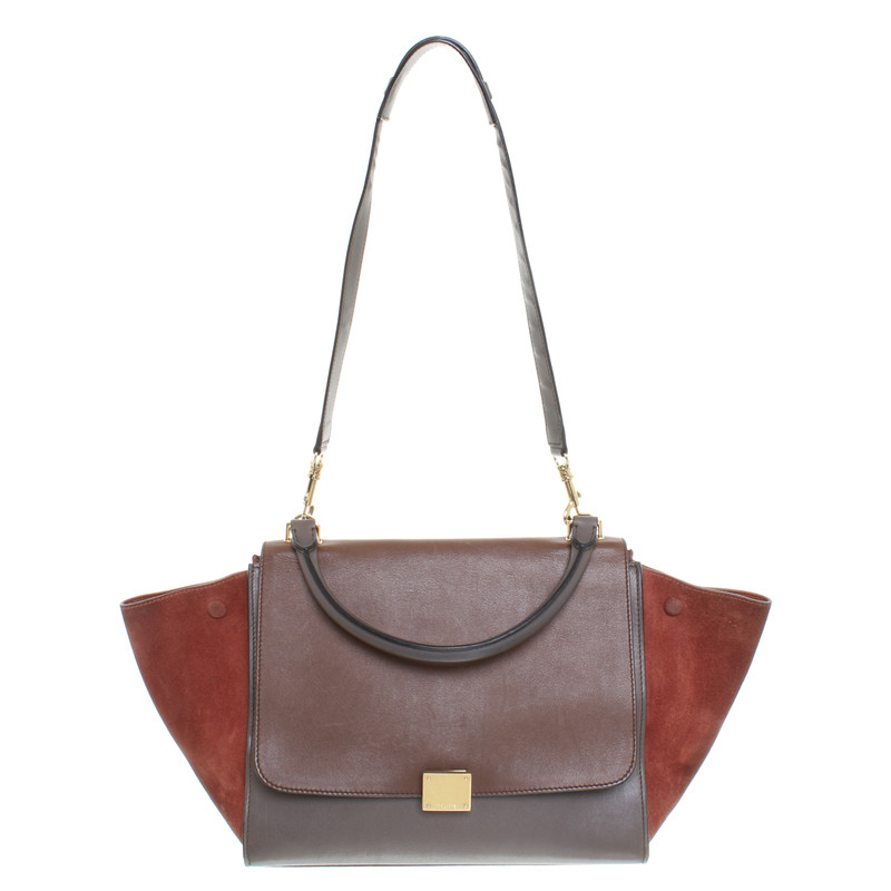 Céline Tze Bag Small In Cognac Grey Brown Second Hand