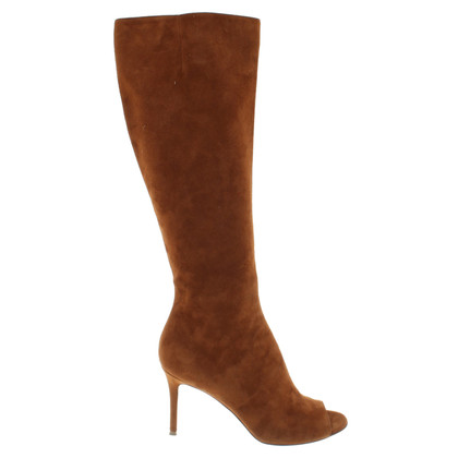 Gianvito Rossi Peep Toe Boots in Brown
