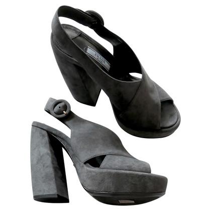 Prada Anthracite Chunky Sandals