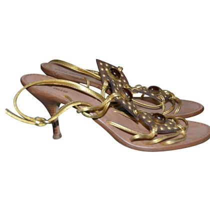 Miu Miu Goldfarbene Sandaletten