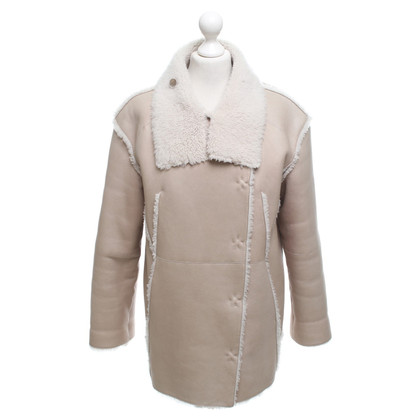 Luisa Cerano Leather coat in beige