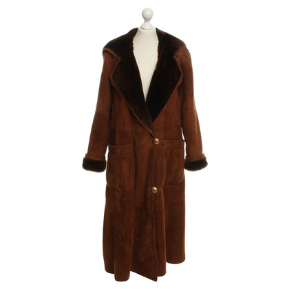 Rena Lange Lambskin coat in brown