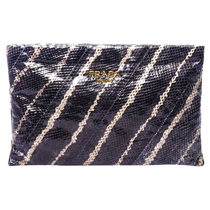 Prada Dark Grey Python Clutch