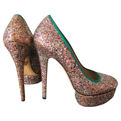 Charlotte Olympia pumps with glitter trim