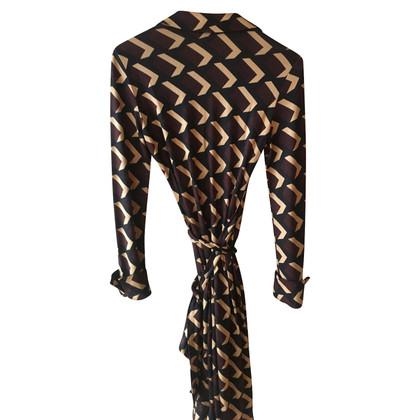 Diane von Furstenberg Jeanne wrap dress black beige bordeau