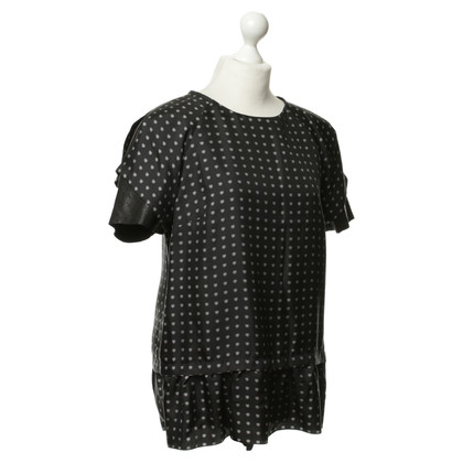 Thakoon Black T-shirt with leather sleeves