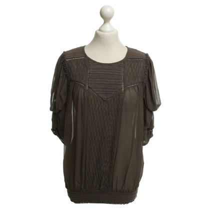 Isabel Marant Giocoso Top in seta in Taupe