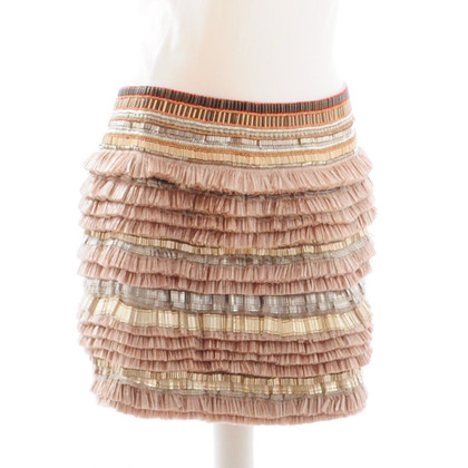 Matthew Williamson Pink / beige raffia skirt