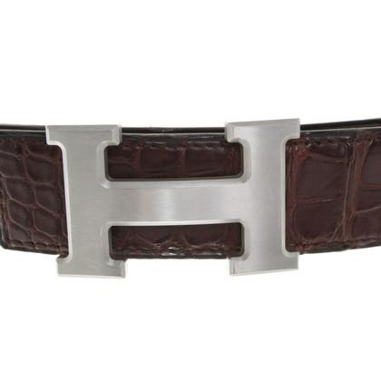 Hermès cintura in pelle di rettile in marrone