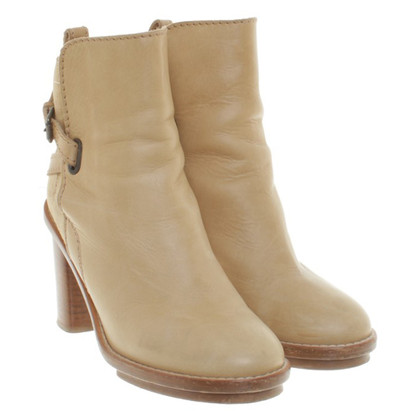 Acne Leather ankle boots in beige