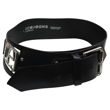 Iceberg Black leather belt with diamonds