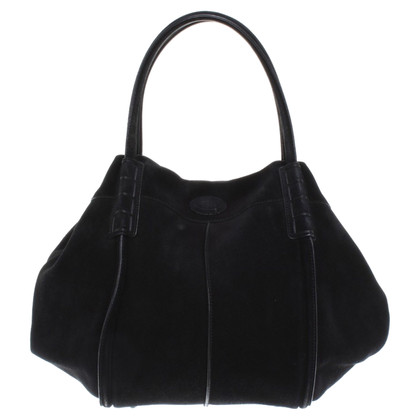 Tod's shopper in pelle scamosciata in nero