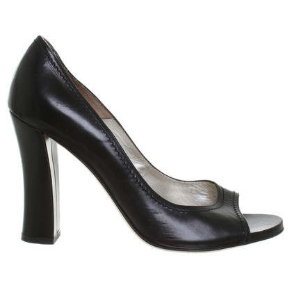 Patrizia Pepe Black leather peep-toes