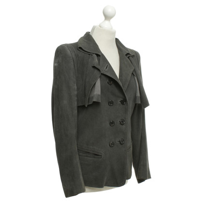 Ann Demeulemeester Giacca in pelle in grigio scuro