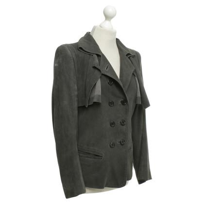 Ann Demeulemeester Leather jacket in dark gray