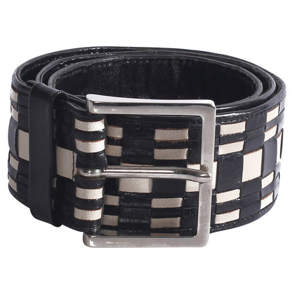 Ferre Leather belt in black and white