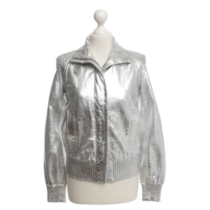 Drykorn Leather jacket in silver