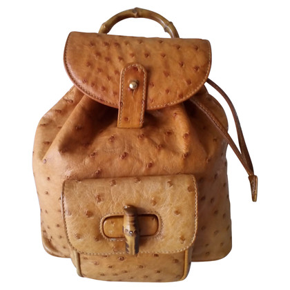 """Gucci """"Bamboo Backpack"""" made of ostrich leather"""