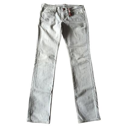 Ralph Lauren Jeans in Grau mit Ledereinsatz.