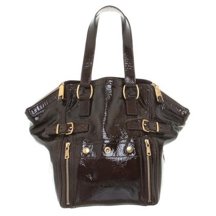 Yves Saint Laurent Lacklederhandtasche in Dunkelbraun