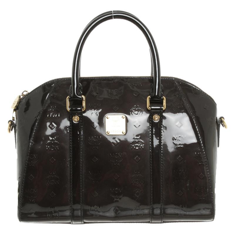 Mcm Handtasche aus Lackleder in Schwarz Second Hand Mcm