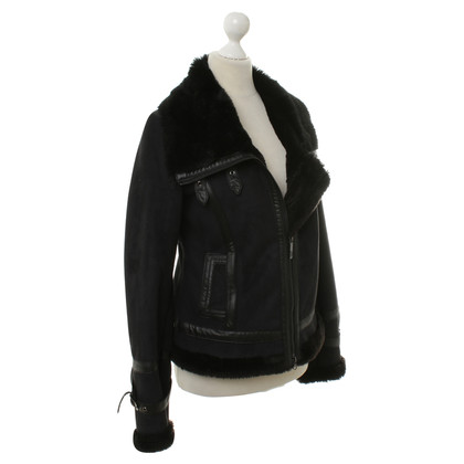 Armani Art leather jacket with faux fur lining