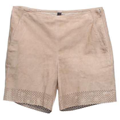 Marc Cain Suede shorts in beige / grey