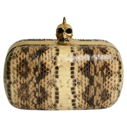 """Alexander McQueen """"Skull clutch"""" made of python leather"""