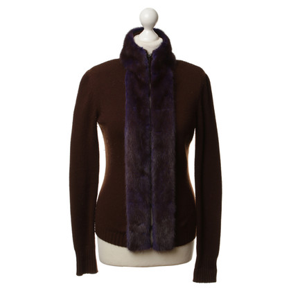 Céline Cashmere Cardigan with fur collar
