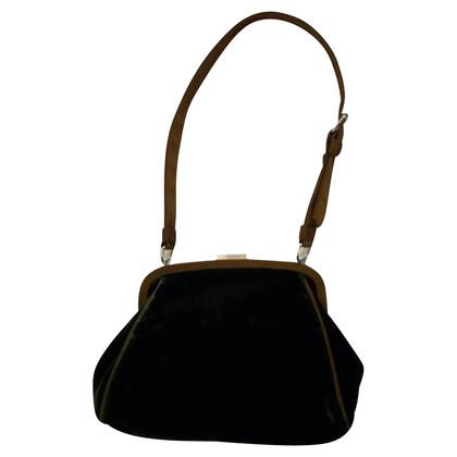 Philosophy di Alberta Ferretti Green velvet purse clutch / shoulderbag