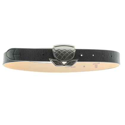 Navyboot Leather belt with logo buckle