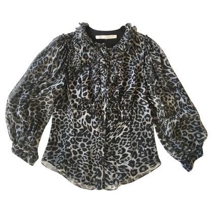 Diane von Furstenberg Blusa in seta stampa leopardo