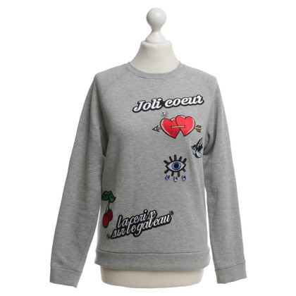 Maje Gray sweater with appliqués
