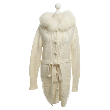 Blumarine Knitted cardigan with fur collar