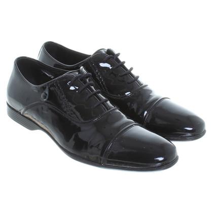 Versace Scarpe di pelle verniciata in nero