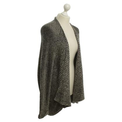 Velvet cardigan in maglia in bianco / nero