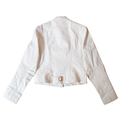 Christian Dior white leather biker jacket