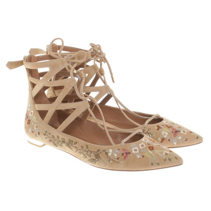 Aquazzura Ballerina's met kant-up element