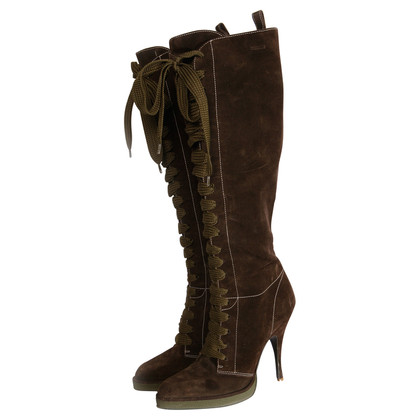 D&G brown suede lace boots