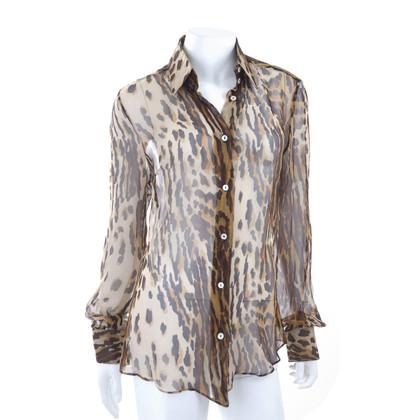 Dolce & Gabbana Chiffonbluse mit Leopardenprint