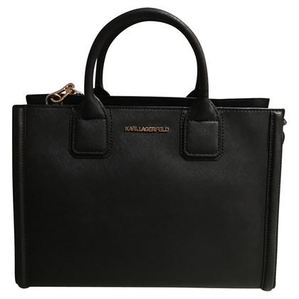 karl lagerfeld handtasche aus saffianoleder second hand karl lagerfeld handtasche aus. Black Bedroom Furniture Sets. Home Design Ideas