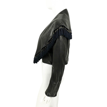 Versace Leather Jacket With Embellished Collar