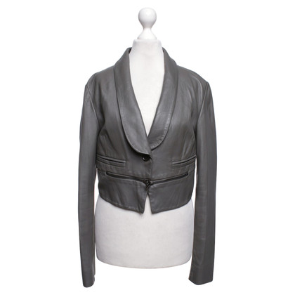 BCBG Max Azria Leather Jacket in Gray