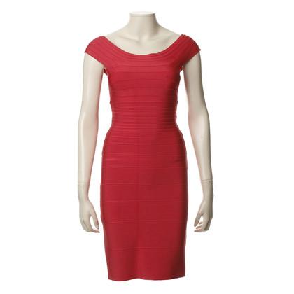 Herve Leger Texturiertes Kleid in Rot