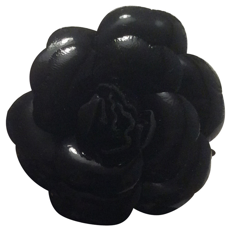 Chanel Black flower brooch