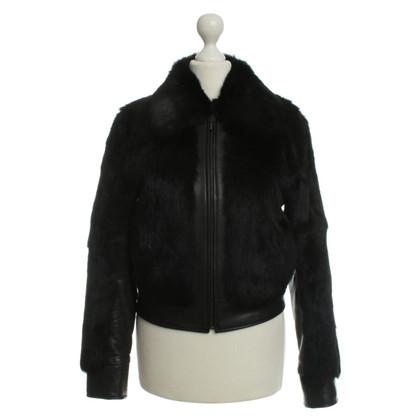 Stefanel Leather jacket with fur trim