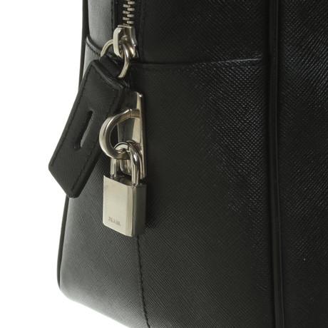 Prada Handtasche aus Leder Schwarz Günstigen Preis Kaufen Rabatt Preiswerte Qualität Freies Verschiffen Schnelle Lieferung Spielraum Fabrikverkauf RplAe