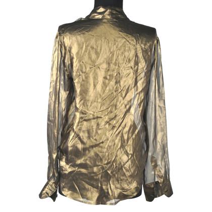 Bottega Veneta camicia d'oro con l'arco del pussy